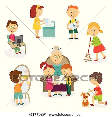Clipart - niños, niños, hacer, hogar, actividades, tareas k51770891 ...