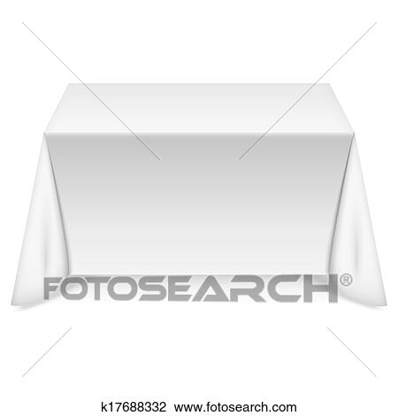 Rectangular table with white tablecloth Clipart ...