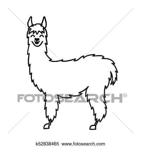 Vector Illustration Of Cute Character South America Lama With