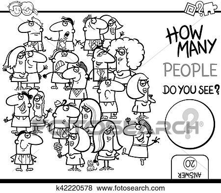 Zählen Leute Spiel Färbung Seite Clip Art K42220578
