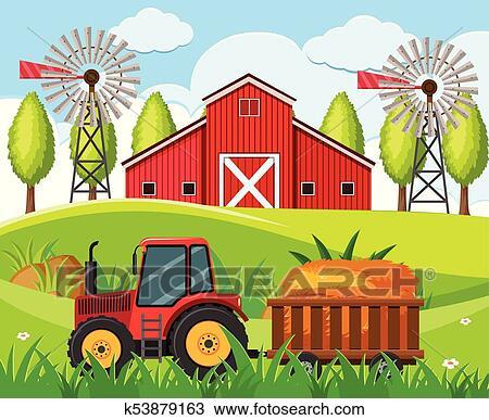 Clipart Bauernhof Szene Mit Roter Traktor Und Scheune Auf