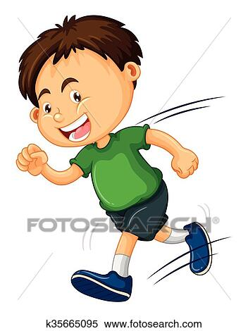 clipart of boy in green shirt running k35665095 search clip art rh fotosearch com boy running fast clipart boy running clip art black and white