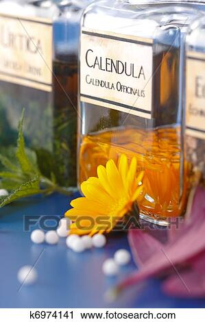Close view of Calendula Officinalis plant extract and the flower petals in front