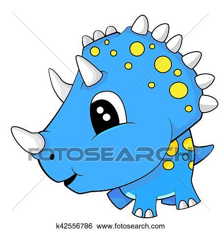 Image of: Baby Dinosaur Stock Illustration Cute Cartoon Blue Baby Triceratops Dinosaur Fotosearch Search Clip Art Fotosearch Cute Cartoon Blue Baby Triceratops Dinosaur Stock Illustration K42556786