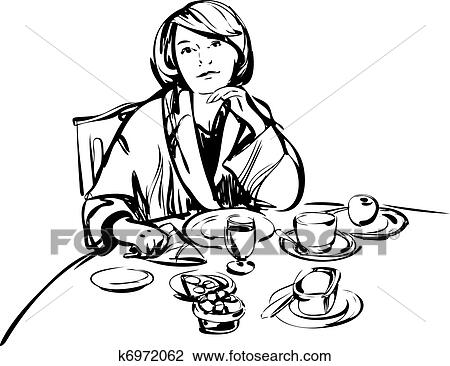 Clipart Of Girl In A Bathrobe At Breakfast Table K6972062