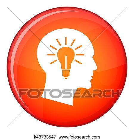 Stock Illustration - glühbirne, innenseite, kopf, symbol, flache ...
