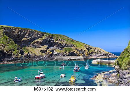 Harbour In Fishing Village Port Isaac Cornwall England
