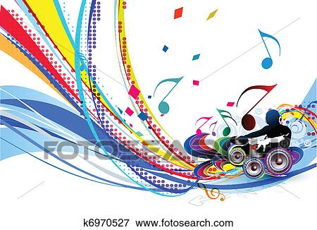 Clip Art Of Illustration Of An Music Background K6970527 Search