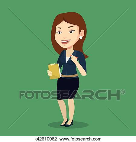 Clipart Of Journalist Writing In Notebook With Pencil K42610062