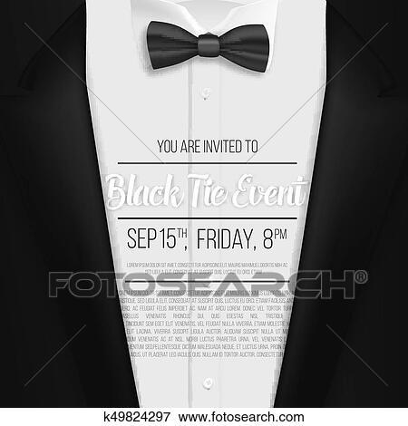 Realista, vector, negro, suit., corbata negra, acontecimiento, invitación, template., vector, mens, traje, con, corbata de lazo Clip Art