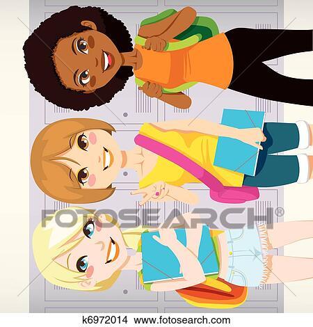 Clipart Of School Friends K6972014 Search Clip Art Illustration
