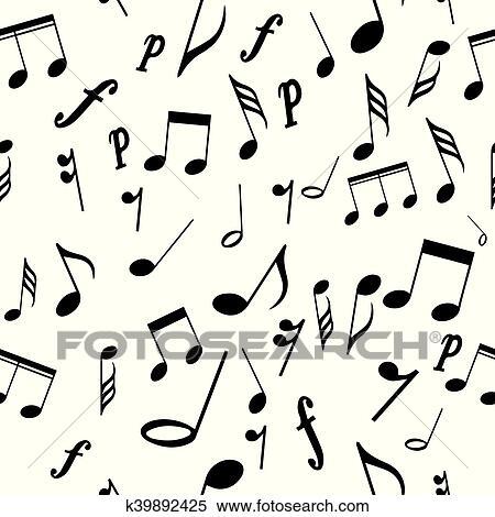 Seamless Modello Note Musicali Clipart K39892425 Fotosearch