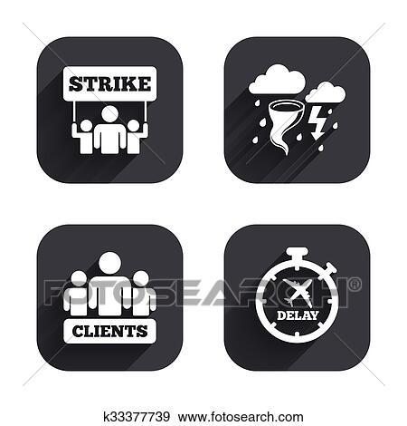 Strike icon  Storm weather and group of people  Clip Art