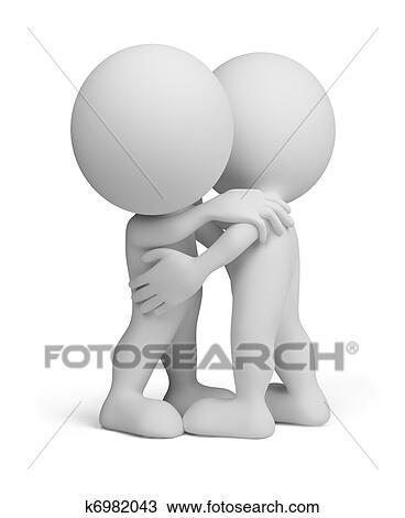 3d Pessoa Amigavel Abraco Desenho K6982043 Fotosearch