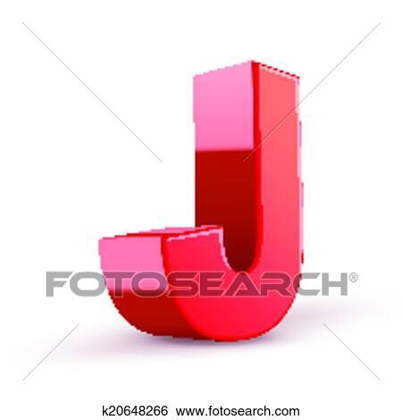 Clip Art Of 3d Red Letter J K20648266 Search Clipart Illustration