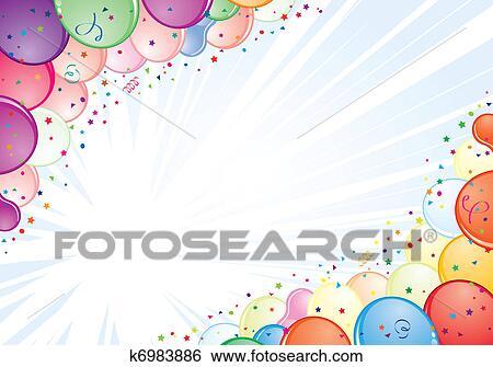Clip Art of Birthday Frame k6983886 - Search Clipart, Illustration ...