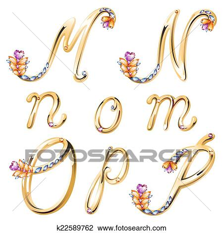 Clipart - bronce, alfabeto, con, coloreado, gemas, cartas, m ...