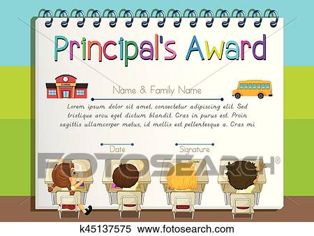 Clipart of certificate template for principals award k45137575 certificate template for principals award illustration yadclub Gallery