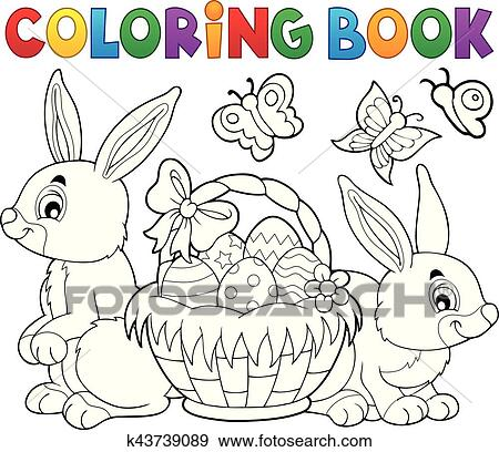 Coloring Book Easter Basket And Rabbits Clip Art K43739089 Fotosearch