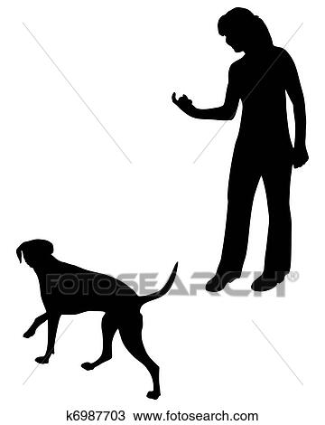 Clipart Of Dog Training Obedience Command Come K6987703