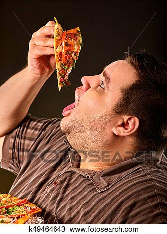 Fat Man Eating Fast Food Slice Pizza Breakfast For Overweight Person Stock Image K49464643 Fotosearch
