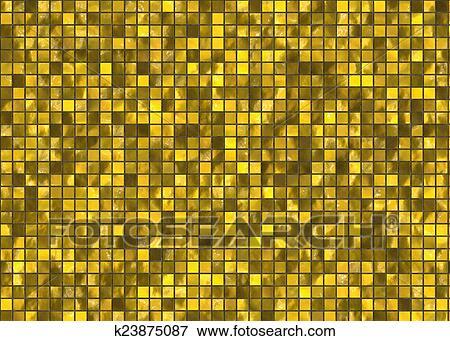 Archivio illustrazioni molti piccolo oro quadrato piastrella
