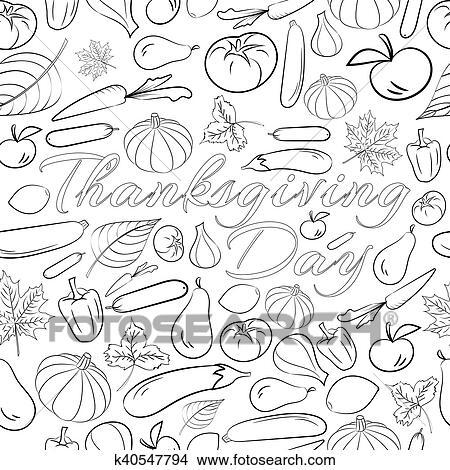 Clipart - otoño, gráfico, seamless, patrón, con, frutas y vehículos ...