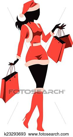 clipart of woman shopping for christmas k23293693 search clip art rh fotosearch com clipart ladies shopping clipart ladies shopping