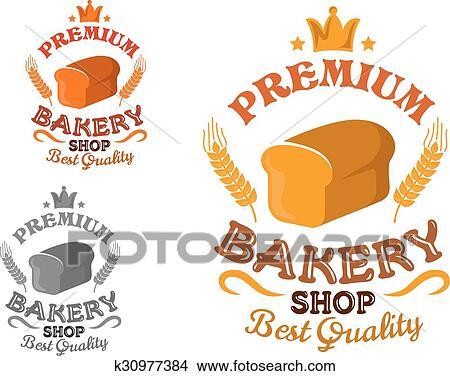 パン屋 店 紋章 で Bread そして 小麦 耳 クリップアート 切り張り イラスト 絵画 集 K Fotosearch