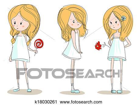 クリップアート切り張りイラスト絵画集 3 かわいい 女の子