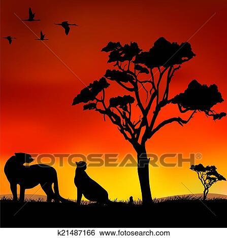 Clipart africaine coucher soleil k21487166 recherchez - Dessin paysage africain ...