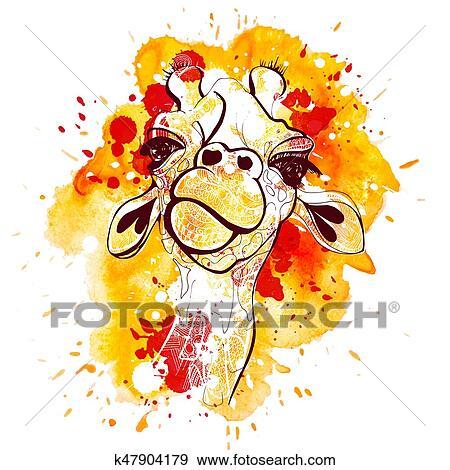 Aquarela E Esboco Mao Desenhar Girafa Illustration