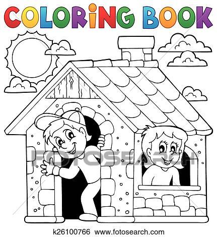 Clip Art Ausmalbilder Kinder Spielen In Haus K26100766 Suche