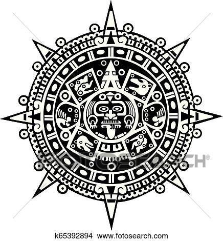Calendario Azteca Vectores.Azteca Calendario Clipart
