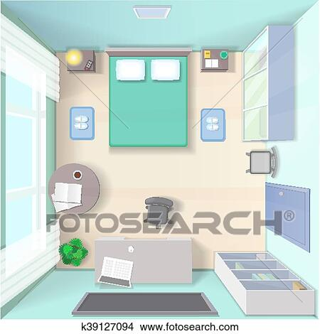 Bedroom Interior Design With Bed Wardrobe Table Top View Realistic