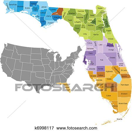 Florida Map Counties.Clip Art Of Florida Counties K6998117 Search Clipart Illustration