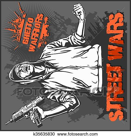 Clipart Of Ghetto Warriors Vector Illustration Gangster On Dirty