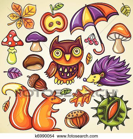 Clipart Herbstlich Satz K6990054 Suche Clip Art Illustration