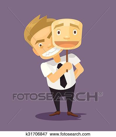 Clipart Homme Affaires Dans Faux Masque Sourire K31706847