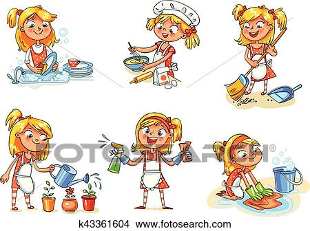 House cleaning  Girl is busy at home  Funny cartoon character Clipart
