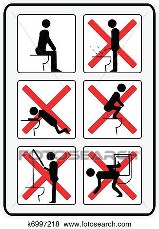 clip art of illustration signs how not to use a toilette k6997218 rh fotosearch com Pain Clip Art Pain Clip Art