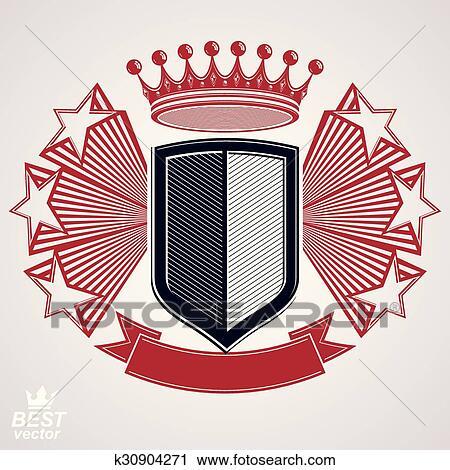 Imperio, estilizado, vector, gráfico, símbolo , protector, con, 3d, vuelo,  estrellas, y, imperial, crown , claro, eps8, escudo de armas, –,