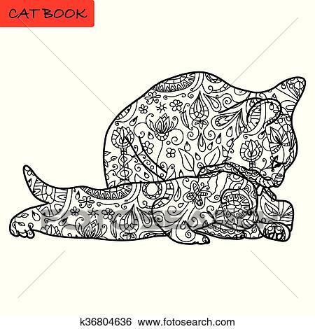 Katz Mutter Und Sie Lustig Katzenbaby Ausmalbilder Für Erwachsene Katz Buch Hand Gezeichnet Vektor Abbildung Mit Muster Clip