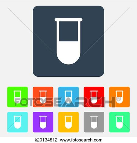 Clipart Of Medical Test Tube Sign Icon Lab Equipment K20134812