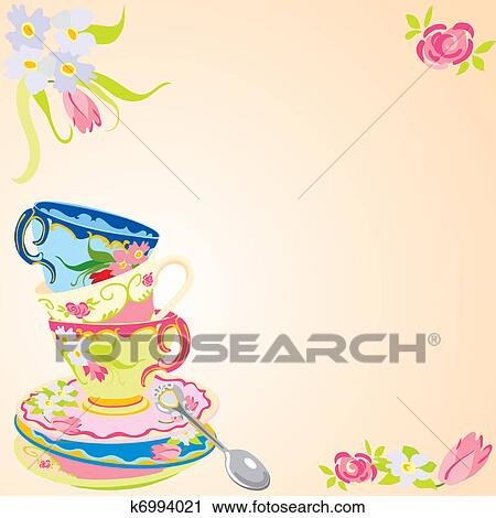 Tea Party Invitation Clipart