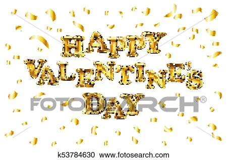 5d1f0c4e28fe Clipart - vector Valentines Day golden balloon banner with gold glitter  confetti illustration. Fotosearch