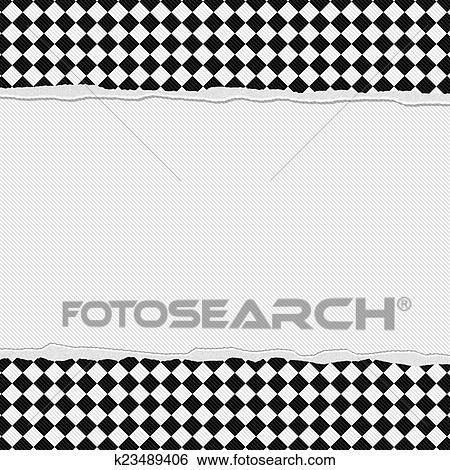 Stock Illustration Of Black And White Checkered Frame With Torn
