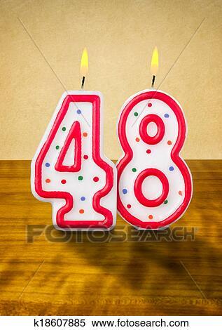 Stock Illustraties Brandende Verjaardag Kaarzen Getal 48