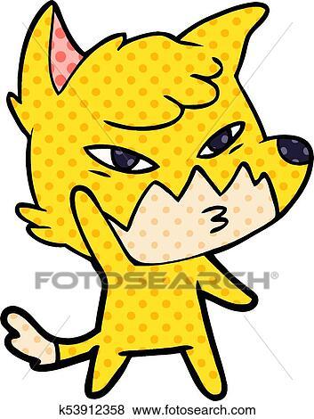 Clip Art Of Clever Cartoon Fox K53912358