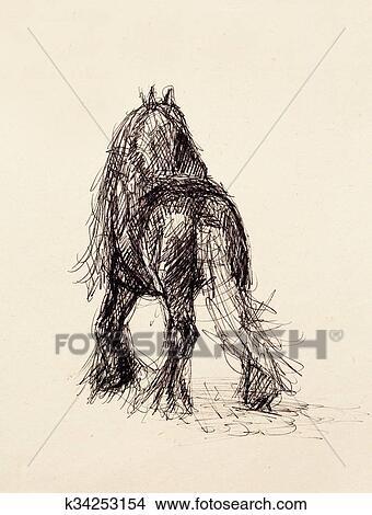 Dessins dessiner crayon cheval sur vieux papier - Main dessin crayon ...